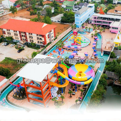 Interactive Amusement Water Park Slides 18m Length For Funny Theme Park