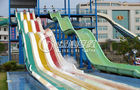 China Rainbow Multi Lane Racing Fiberglass Water Slides for Aqua Park Equipment 110m length company