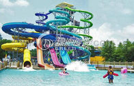 China Family Open Spiral Slide Water Park Equipment , Blue Red Green Fiberglass Spiral Water Slide factory
