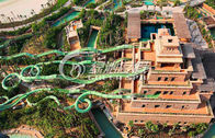 China Kids and Adults Green Water Roller Coaster / Fiberglass Water Slides for Aqua park factory