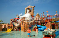 China Commercial Huge Fiberglass Slide Water Park with Water Castle , Maya Style factory