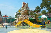China Crocodile Type Children Fun Play Fiberglass Water Slides for Spray Park Equipment factory