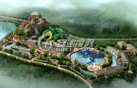 Outdoor Commercial Water Park Project / Water Park Design with Spiral Water Slide , Water Toys