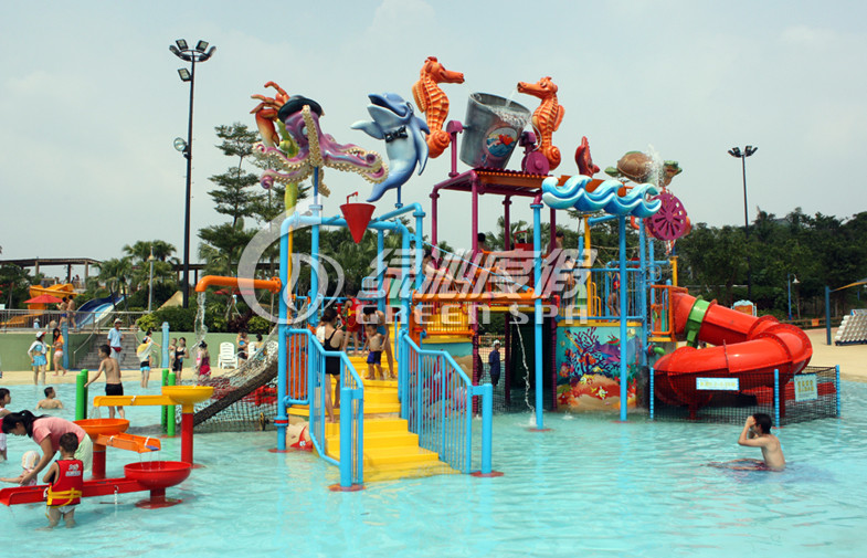 Commercial Water Park Equipment Kids Water Playground For 50 Riders , Anti UV and Safety