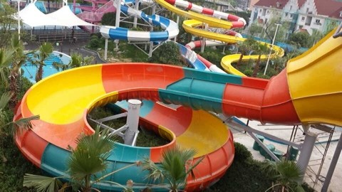 Outdoor Commercial Grade Fiberglass Colorful Water Slides Customized Swimming Pool for Kids and Adults