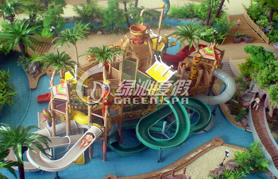Outdoor or Indoor Water House With Fiberglass Spiral Water Slide , Water Amusement Park